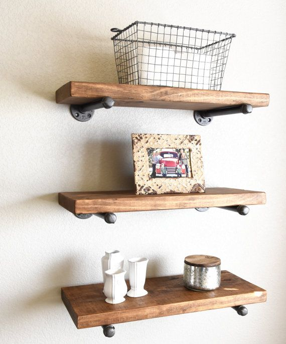 Industrial Rustic Floating Shelves Three 10 Deep Shelves