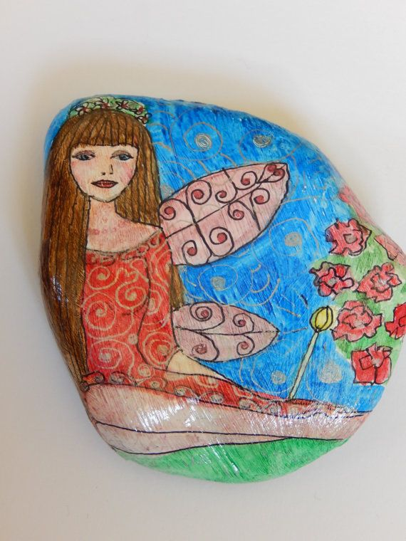 The Red Rose Fairy. Hand Painted Natural Stone by HiddenGardenArt