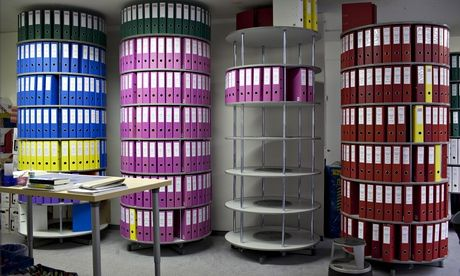 Assisted suicide laws around the world. Files at the Dignitas offices in Zurich, Switzerland. Photograph: David Levene for the Guardian