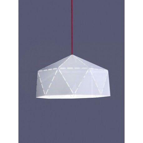 Φωτιστικό κρεμαστό DIAMOND 6617 ατσάλινο λευκό κόκκινο Φ44