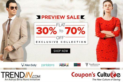 #Trendin #Offers Flat 30% -70% Off on #Men & #Women #Clothing, #Accessories, #Footwear.