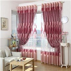 High Quality Romantic Pink Custom Sheer Curtain