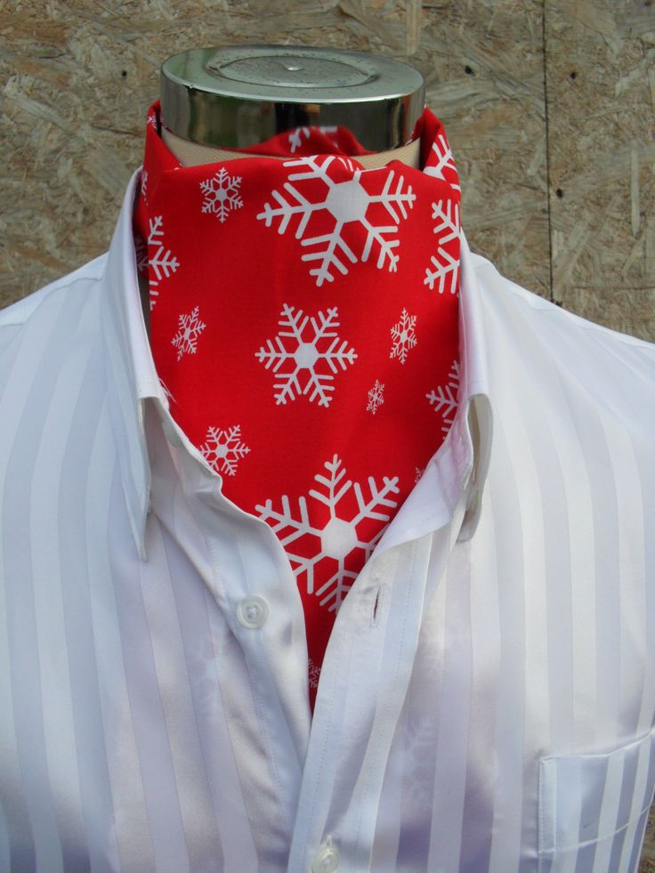 Red Christmas / Holiday Cravat with large white snowflakes.  Item No. LDC0264 by…