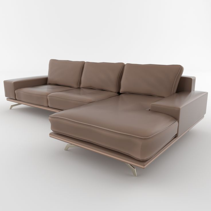 High detailed 3D model of a leather sofa with metal legs for any modern interior.