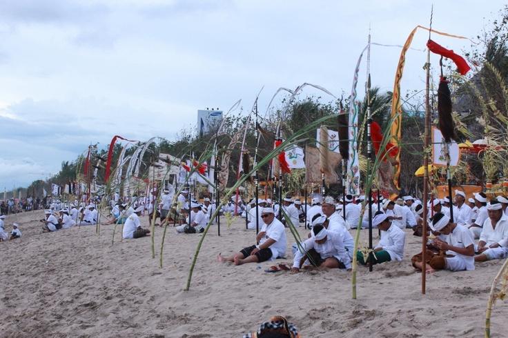 Melasti ritual in Kuta Beach. Preparing for Nyepi. # Kuta # Bali # INDONESIA