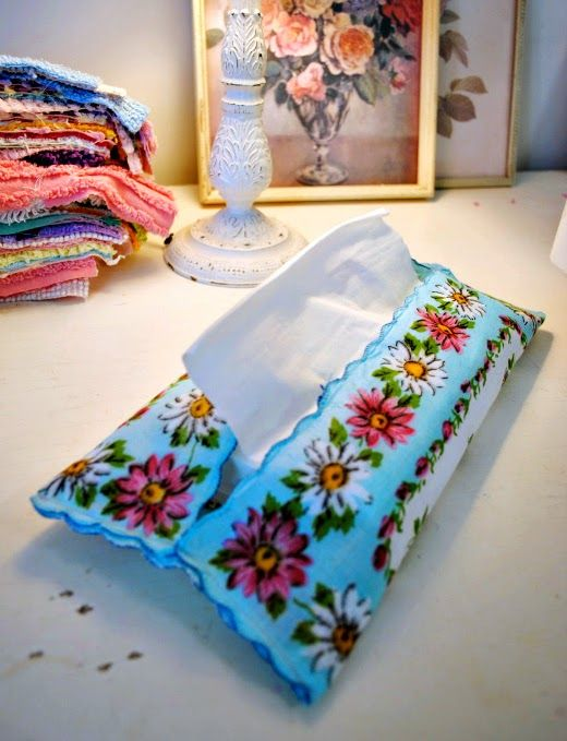 Vintage hankie tissue holder! Lovely DIY, not to mention a little ironic :)
