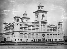 Dunedin Hospital. This building used to be the old Exhibition Building. Photo taken around 1870's.
