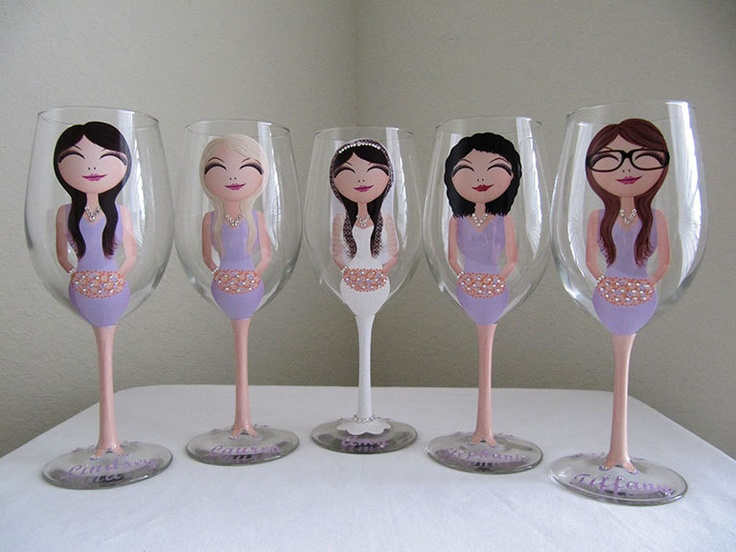 Bride and Bridesmaid Champagne and Wine Glasses. $25.00, via Etsy.
