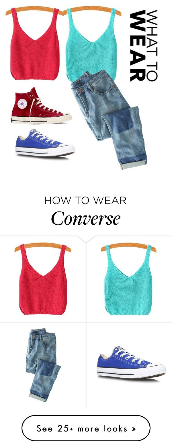 """Blue and red❤️"" by unicornnnnnnnn2004 on Polyvore featuring Converse and Wrap"