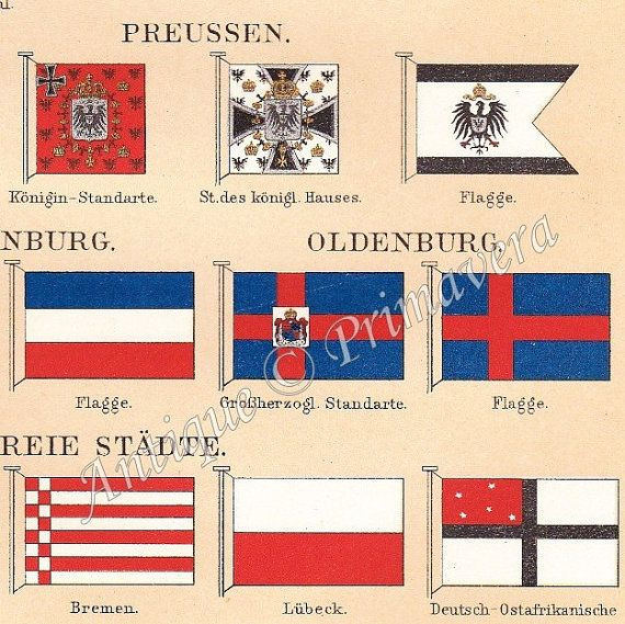1898 Flags  Different Flags of the German by AntiquePrimavera, $14.50