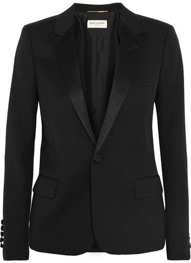 Saint Laurent - Satin-trimmed Wool-piqué Tuxedo Blazer - Black