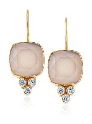 59% OFF Kanupriya Pink Chalcedony Slice Earrings