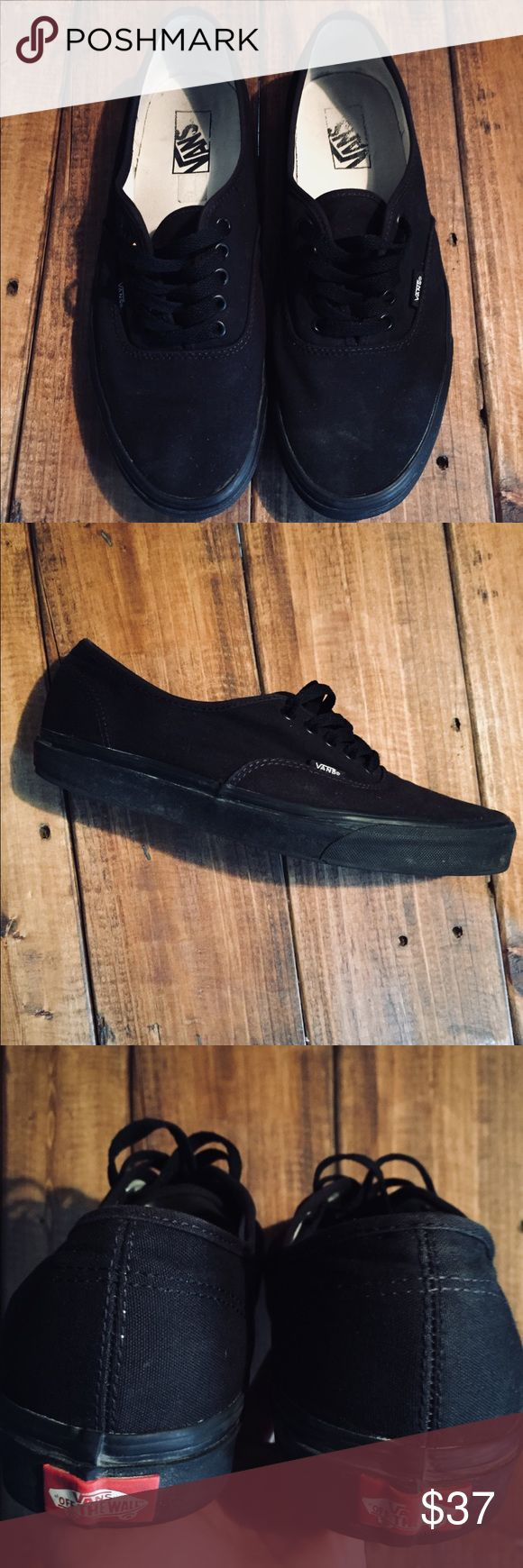 All Black Vans Skate Shoes Authentic All Black low Vans. Lightly worn over a year and really taken care of. The wear and tear is equivalent to someone wearing them 2 or 3 times. Originally 50 dollars Vans Shoes Sneakers
