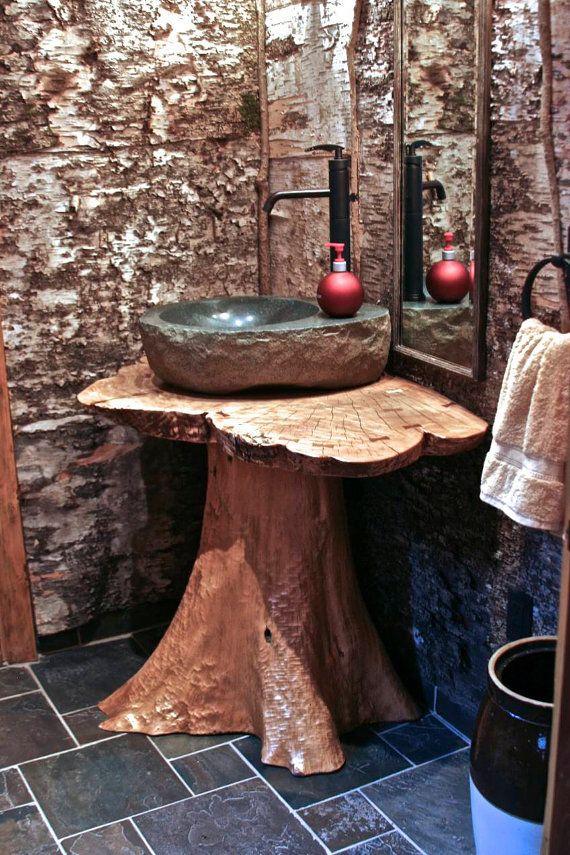 Cedar stump vanity/pedistal sink by RusticBlues on Etsy