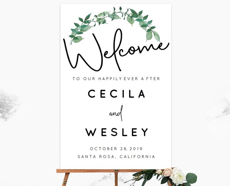 Forest Woodland Greenery Wedding Welcome Sign Template to print with a local or online printer.
