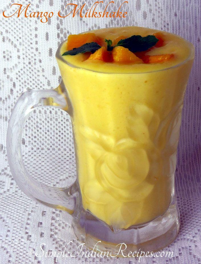 Mango Milkshake:  Cool, creamy, tasty and healthy summer drink with mango and milk. Try the mango milkshake recipe @ http://simpleindianrecipes.com/Home/MangoMilkshake.aspx