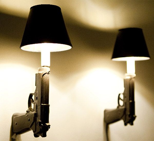 Hot Shot. Gun Wall Sconces. Man cave worthy for sure