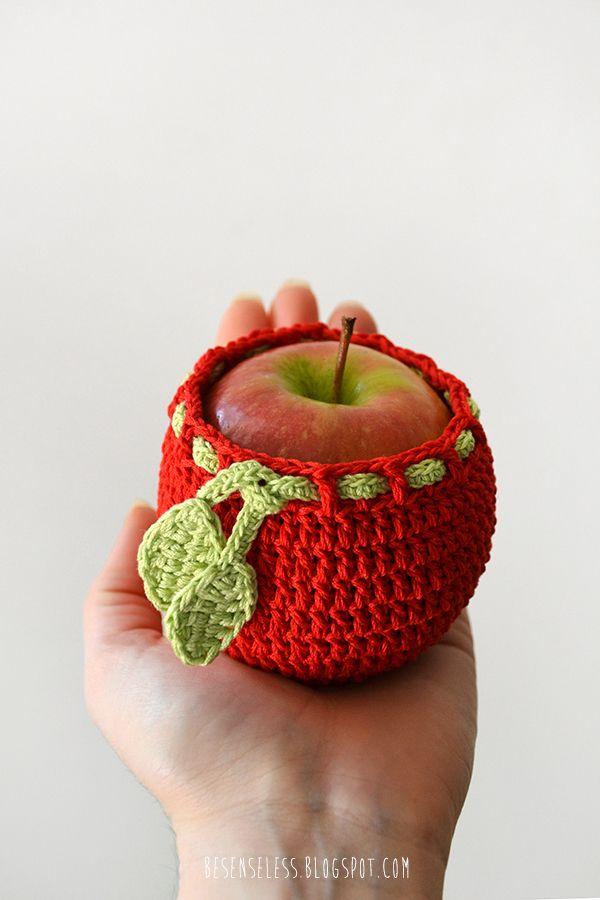 Apple - Crochet applique and kitchen acessories - besenseless.blogspot.com