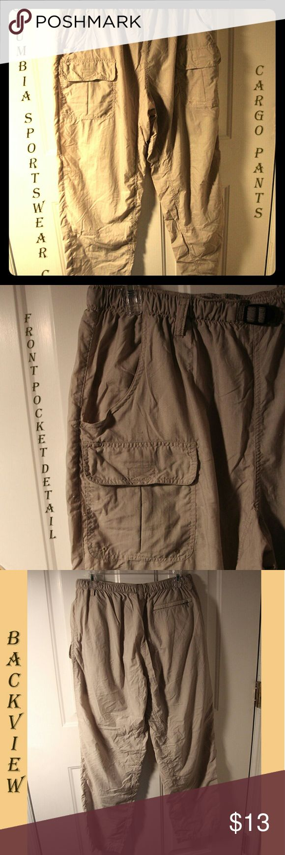 "🔅C👀l cargo pants. Gr8 pkts🔅 Columbia Sportswear Co 5pkt khaki cargo pants are in EUC. Worn only a couple times. Front side seam pkts (2) / front high thigh patch pkts (2) w/Velcro closure / zip secured right back pkt (1). Measures W-32"" / I-31"" / L-42"". From SFPF home🚭. ***Bundle 2+ items for 20% discount*** Columbia Pants"