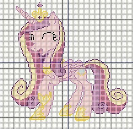 Buzy Bobbins: Princess Candence happy - My Little Pony Cross stitch design