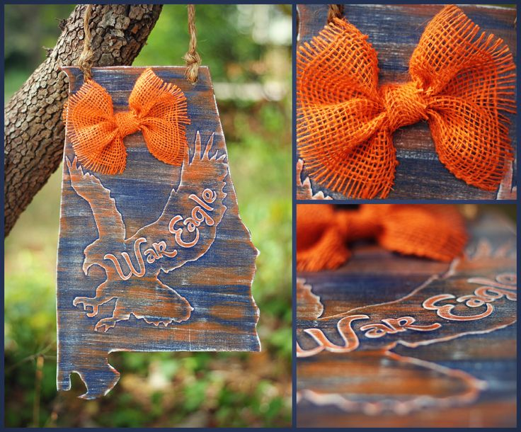 Distressed Wooden state of alabama Door hanger with Auburn eagle and burlap bow