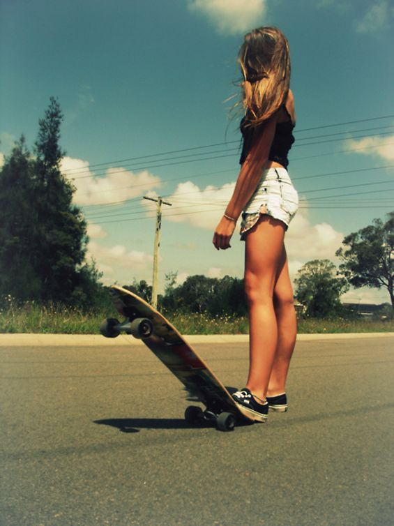 sexy girl with skateboard