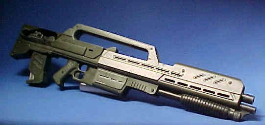 The standard-issue rifle for the Mobile Infantry in early stage of the First Bug War, the Morita Assault Rifle, is actually the only infantry weapon used prior to the Second Battle of Klendathu. The Morita was eventually replaced with Morita II Assault Rifles and E-pulse 44 Rifle. The Morita comes in three variants; the standard variant includes a shotgun on the lower front of the weapon.