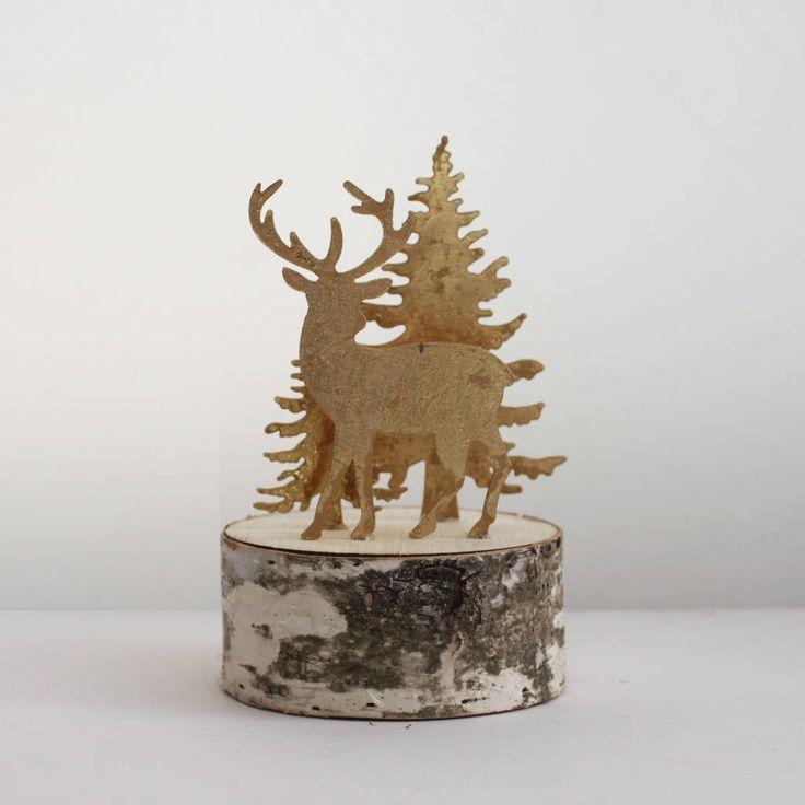 Festive Deer Scene On Wooden Log Base