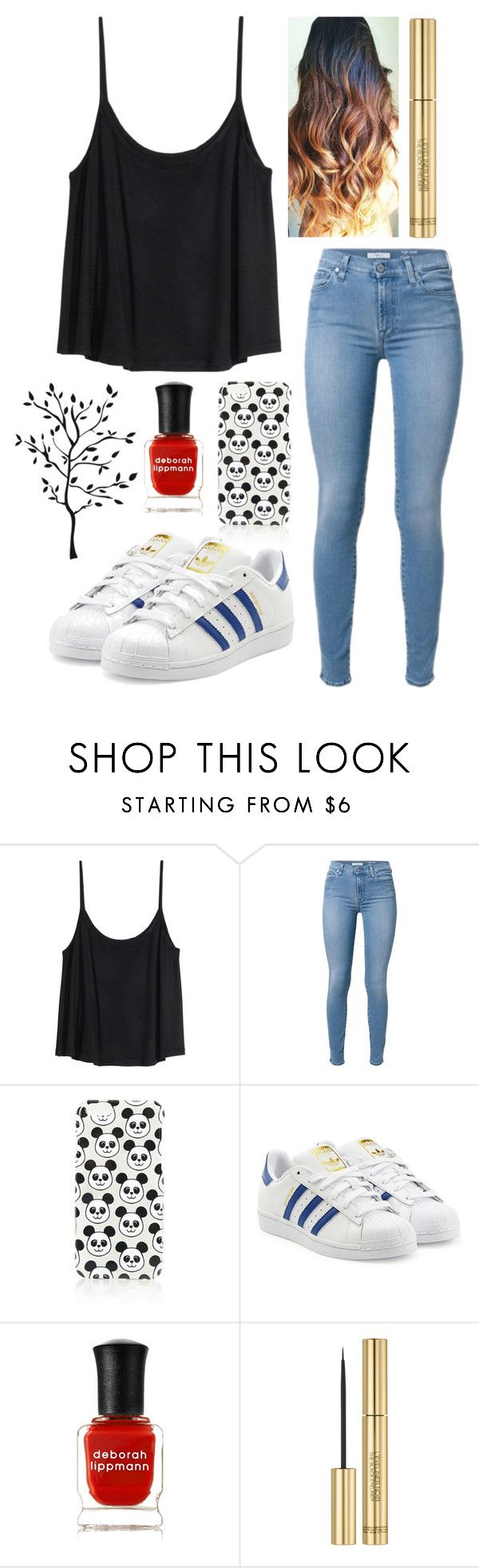 """605."" by itsmy123 ❤ liked on Polyvore featuring H&M, Topshop, adidas Originals, Deborah Lippmann and Yves Saint Laurent"