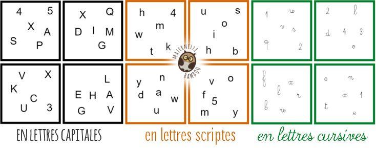 Dobble de l'alphabet - Lettres capitales, scriptes et cursives