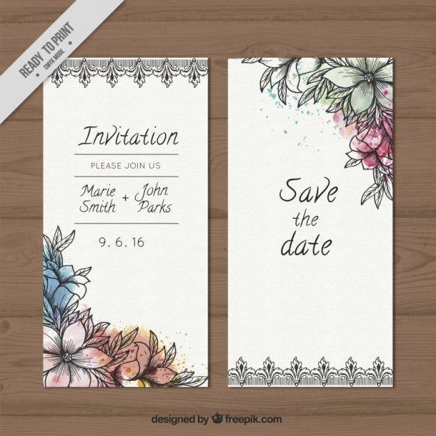Carta di nozze di schizzi fiori con schizzi ad acquerello Vettore Premium