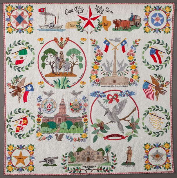 "Album quilt:  ""Capt. John Files Tom's Family Tree""  by Shirley Fowlkes Stevenson.  This quilt features original appliqué scenes from her great-grandfather's life. The quilt was chosen for inclusion in Lone Stars III: A Legacy of Texas Quilts, 1986-2011"