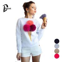 DayLook秋パーカーかわいい3Dうるさいボール原宿パーカー女性アイスクリームプリントロングスリーブシャツルーズプルオーバー