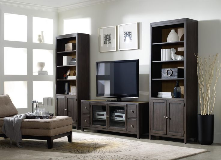Hooker Furniture South Park Bunching Bookcase With 3 Shelves And Doors   Howell  Furniture   Bookcase   2 Pc. With Hutch