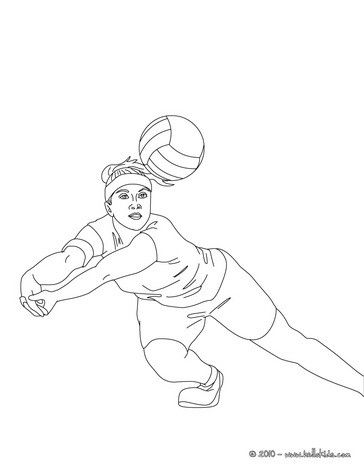 Volleyball Player Digging The Ball Coloring Page More Sports
