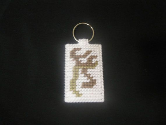 Plastic Canvas Browning Deer Key Chain by FunksHomemadeCrafts