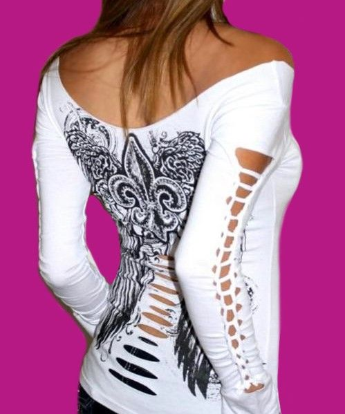DIY  for tee shirts | Demi Loon DIY Sexy Tattoo Goth Punk Fallen Angel Wings L S Slashed Tee