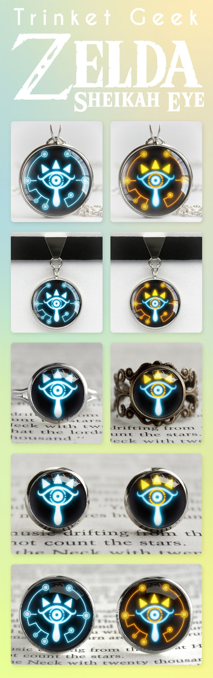 Zelda Breath of the Wild jewelry. The Sheikah Eye symbol of Sheikah Slate from BOTW made into Silver necklace, choker, silver ring, silver cufflinks and bronze rings. The best gift for nerds and geeks!