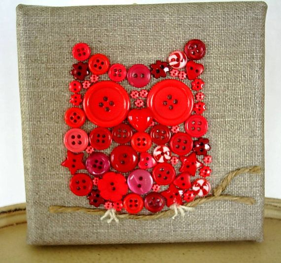 owl artowl picturebutton artred owl button by fraline on Etsy, $18.00