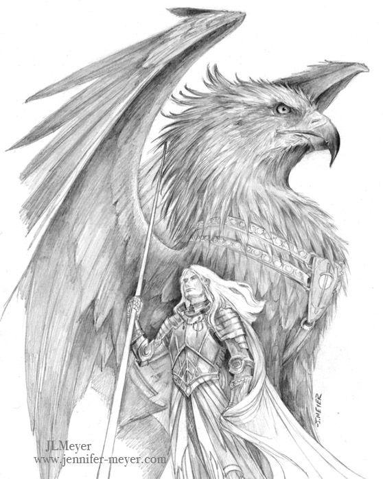 """A vast shadow loomed above, dark wings spanning distances too great, razor-. Gryphon TattooKnight DrawingEagle DrawingJennifer MeyerJennifer ..."