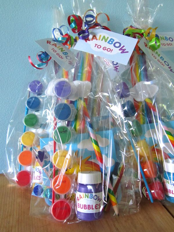 rainbow centerpieces | Here's a peek at all of the fun rainbow goodies inside the bags: