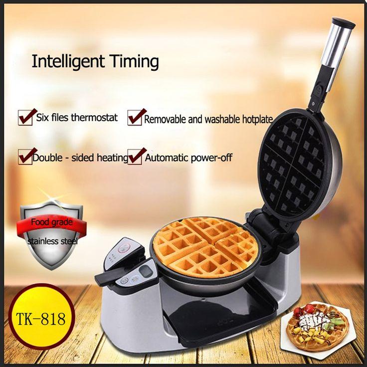 1PC Non-stick coating TK-818 double side heating Electric Rotary Egg Waffle Maker Pancake Maker waffle machine #Affiliate