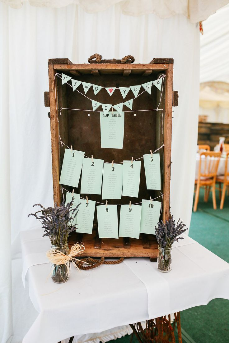 Rustic Wooden Crate Table Plan   Handmade Lace Wedding Dress   Classic Outdoor Marquee Reception in Parents Back Garden   DIY Decor   Pastel Flowers   Mint Bridesmaid Dresses   Image by Suzy Wimbourne Photography   http://www.rockmywedding.co.uk/becky-tom/