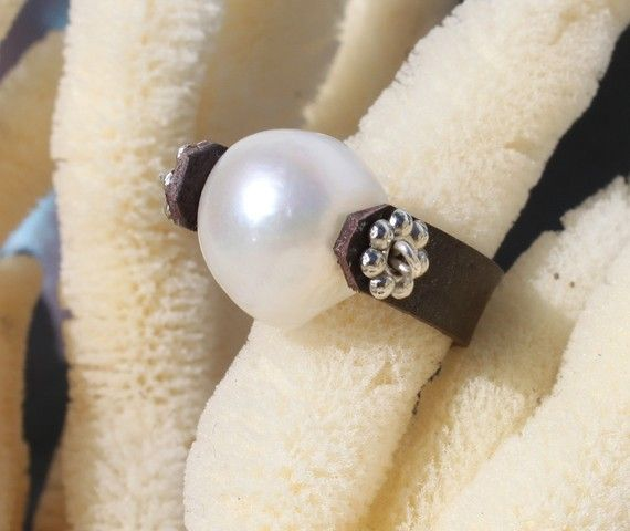 leather and pearl ring