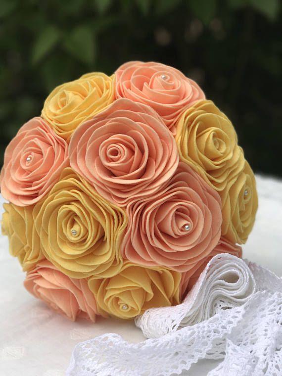 Felt Bridal Bouquet  Rose Bouquet  Unique Weddings  Forever
