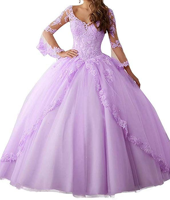 061ed0631 Annadress Women s Long Sleeve Lace Quinceanera Dresses Train V-Neck Ball  Gown Lavender US14 at Amazon Women s Clothing store