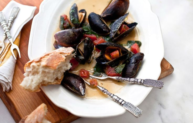 Oven-Roasted Mussels With Fresh Spinach Recipe - NYT Cooking