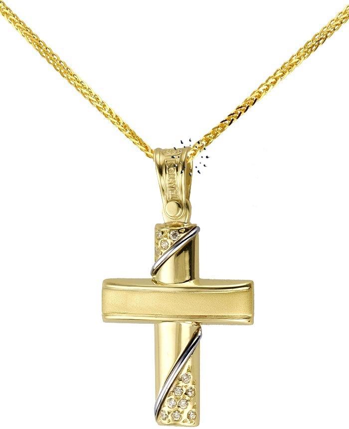Σταυρός 14 Καράτια Χρυσό με Ζιρκόν TRIANTOS  455€   http://www.kosmima.gr/product_info.php?products_id=12177