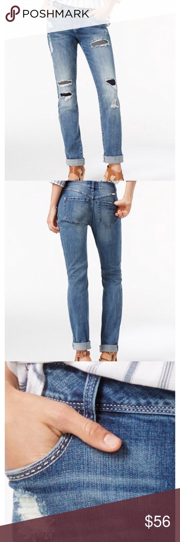 """INC Boyfriend Jeans Mid rise, straight leg jeans that can be cuffed. Cotton/spandex with 32"""" inseam. Rips backed with patches.[RN.S  ].🚫Trades. INC International Concepts Jeans Boyfriend"""