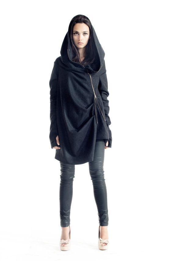 Asymmetryc Extravagant Dark Grey  Hoodded Coat / Casha by Aakasha, $139.00